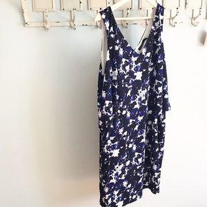 NWT Ralph Lauren Blue Splatter Tiered Dress